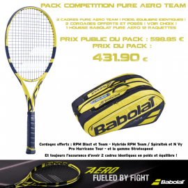 Pack competition Babolat Pure Aero Team X 2 ( 2019 )